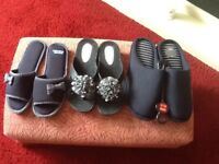 Three pairs of slippers two size 5 one size medium 8/9 all unworn