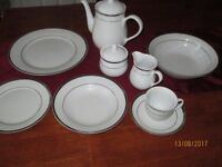 Fine white china with silver edging 44 piece, 8 place setting dinner service and tea/coffee set