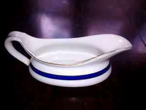 Fantastic C. 1920s Gravy Bowl / Pitcher. White w/ Blue Accents.