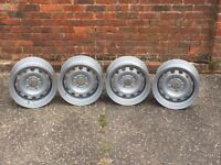 Peugeot banded steel wheels, 4x108, 14inch, slammed stance euro look rat style