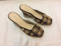 Attractive Ladies Shoes With Pearl and Pailette (size Uk 3, EU 36)
