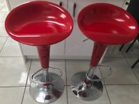 Two Red Barstools for sale