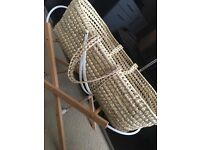 Moses basket & stand with the bedding
