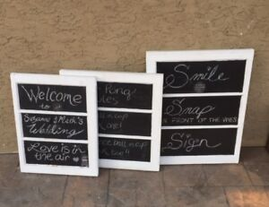 3 Event framed chalk boards / table clothes