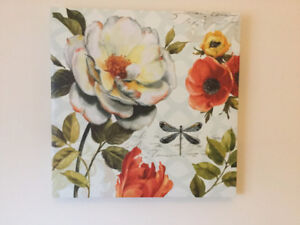 Nice Magnolia and Dragonfly  - canvas art