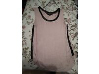 New Look size 10 wet look striped pink sleeveless T-shirt.