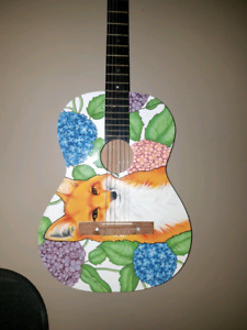 Nylon String Acoustic Guitar (fox painting on face)