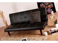 Brand New Black Leather Sofa Bed