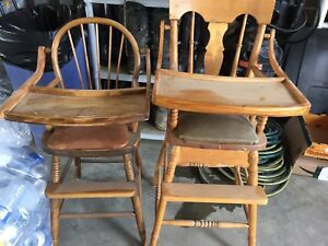 Antique wood high chairs