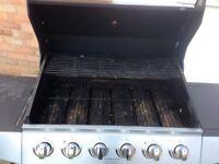 6 burner gas barbeque with side hob
