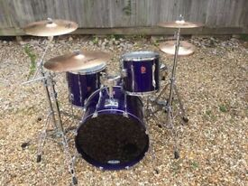 Premier 90's drum kit with cymbals, stands and cases
