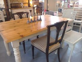 Traditional Farmhouse table, painted and stripped