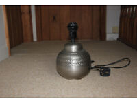 Morrocan style dull silver/pewter colour metal lamp base