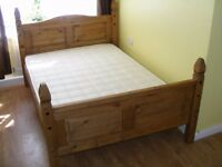 CAN DELIVER - MEXICAN PINE DOUBLE BED WITH MATTRESS IN VERY GOOD CONDITION