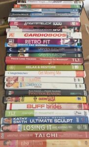 Box of workout DVDs
