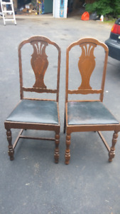2 antique dining room chairs