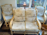 Cane conservatory furniture suite sofa & chairs