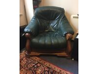 Green Leather armchair with wood frame