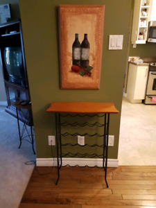 Wine rack,  painting and phone stand