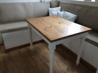 Pine kitchen table with painted white removeable legs. 102 x 71 x h 75 cms