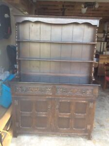 Solid wood China cabinet buffet and hutch