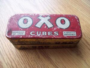 1-BOITE EN METAL,CUBES OXO,ANTIQUE.