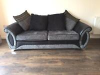 Grey and black 3 seater double sofa bed