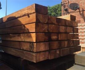 🍁Brown 100 X 200 X 2.4M Wooden Railway Sleepers