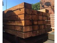 🍁Brown 100 X 200 X 2.4M Wooden Railway Sleepers