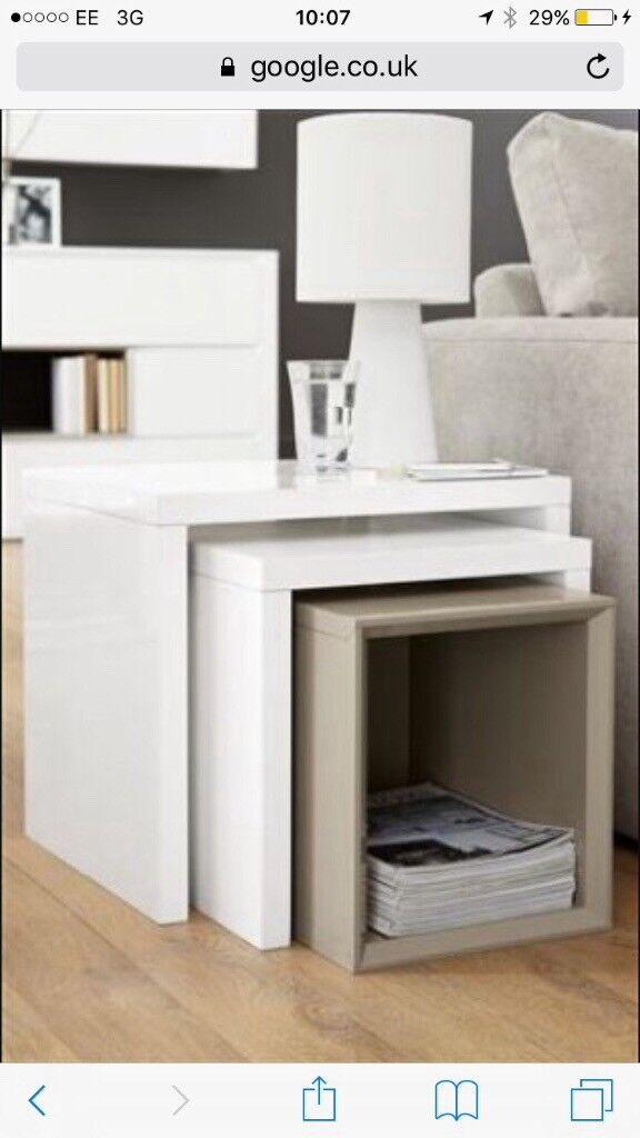 NEXT White Gloss Living Room Furniture