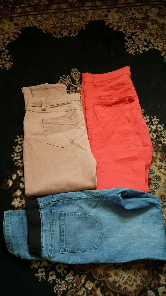 Jeans bundlein Stoke on Trent, StaffordshireGumtree - Jeans bundle coral red jeans . Beige jeans are a size 16 but more like a 14 . Blue jeans size 14 Aving a clear out from a smoke and pet free home