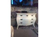Large white French style chest stunning with 5 drawers