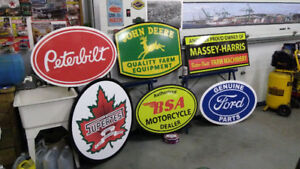 LARGE JOHN DEERE MASSSEY HARRIS CASE  AND FORD TRACTOR SIGNS