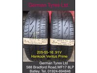 205-55-16 91V Hankook Ventus Prime part worn tyres 5mm+ thread fitted