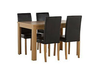Penley Oak Stain Extendable Dining Table and 4 Black Chairs
