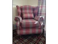 Excellent condition Tartan wing back chair with castors