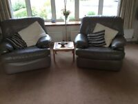 Three piece leather suite in mushroom colour