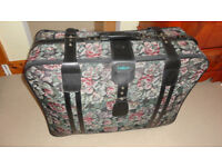 Vintage XL Large Green Floral Fabric Suitcase LUGGAGE