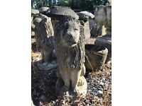 2 x Lion statues hand carved stone 54cm high