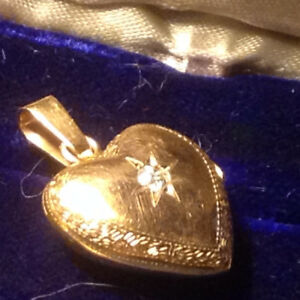 Old 14k Yellow Gold Heart Diamond Locket Pendant
