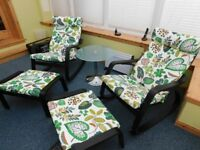 Two Ikea Poang Rocking Chairs and Matching Footstools in Black-Brown and vibrant Simmarp Green
