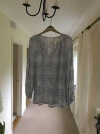 Lovely white and blue blouse tunic by John Lewis never worn size 16