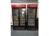 Coca Cola Upright Double Glass Door Display Fridge / Cooler Excellent Condition Full Working Order