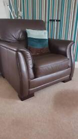 Fenwicks Leather brown sofa 2 chairs and foot stool