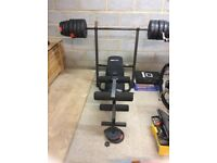 Great buy- multi gym bench and various weights