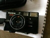 Reduced to sell KONICA POP 35MM FILM CAMERA WITH ORIGINAL LEATHER CASE AND BOOKLET