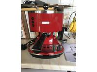 Red DeLonghi Coffee Machine