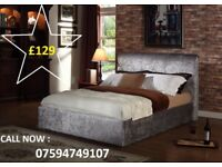 DOUBLE CRUSHED VELVET BED FRAME + FREE MATTRESS NOW ONLY
