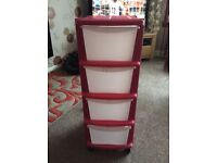 Pink storage drawers