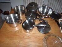 kitchen set , pots + pan, knives
